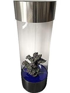 Acuario en forma de columna, hecho de acero inoxidable y acrílico, 210 L de