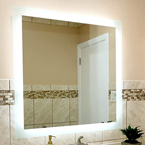 LED Side-Lighted Bathroom Vanity Mirror 36 Wide x 36 Tall – Commercial Grade – Square – Wall-Mounted