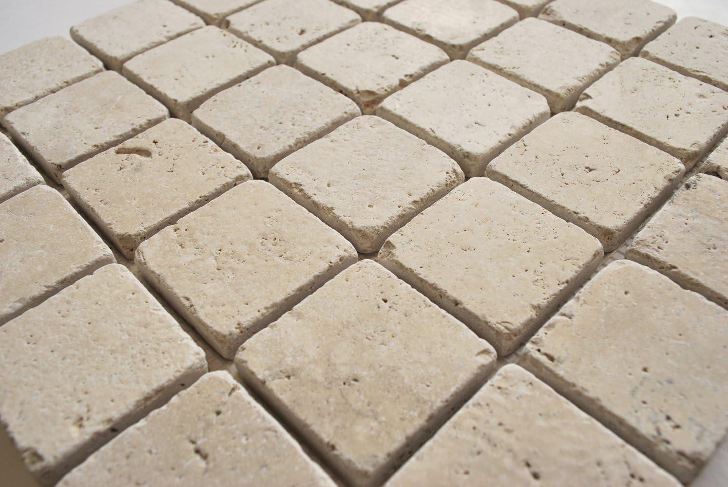 2x2 Light Ivory Tumbled Travertine Mosaic Tile Backsplash Wall Floor