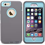 For iphone 6 Protective Case,Kecko(TM) Heavy Duty Shockproof Series Tough Armor Builders Workman Hard High Impact Military Grade Hybrid Bumper Case for iPhone 6(4.7)(Sprint, AT&T, Verizon, or T-Mobile) with Built-in Screen Protector-Gray Series