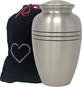Classic Pewter Adult Cremation Urn - Hand Engraved Accents - Silver Urn - Momentful Life