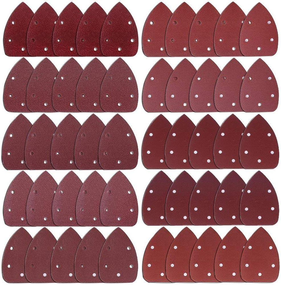 AUSTOR 50 Pieces Mouse Detail Sander Sandpaper Sanding Paper Hook and Loop Assorted 40//60// 80//100// 120//180// 240//320// 400//800 Grits