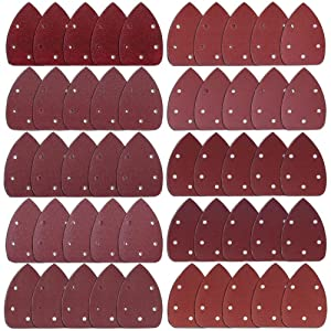 AUSTOR 50 Pieces Mouse Detail Sander Sandpaper Sanding Paper Hook and Loop Assorted 40/60/ 80/100/ 120/180/ 240/320/ 400/800 Grits