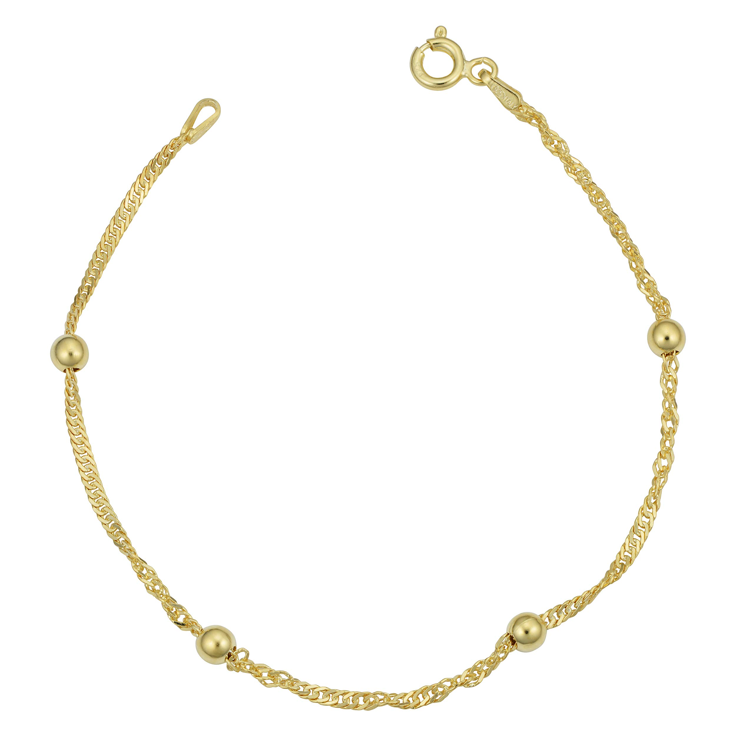Kooljewelry Yellow Gold Over Sterling Silver 1.5mm Singapore Bead Station Anklet (10 inch)
