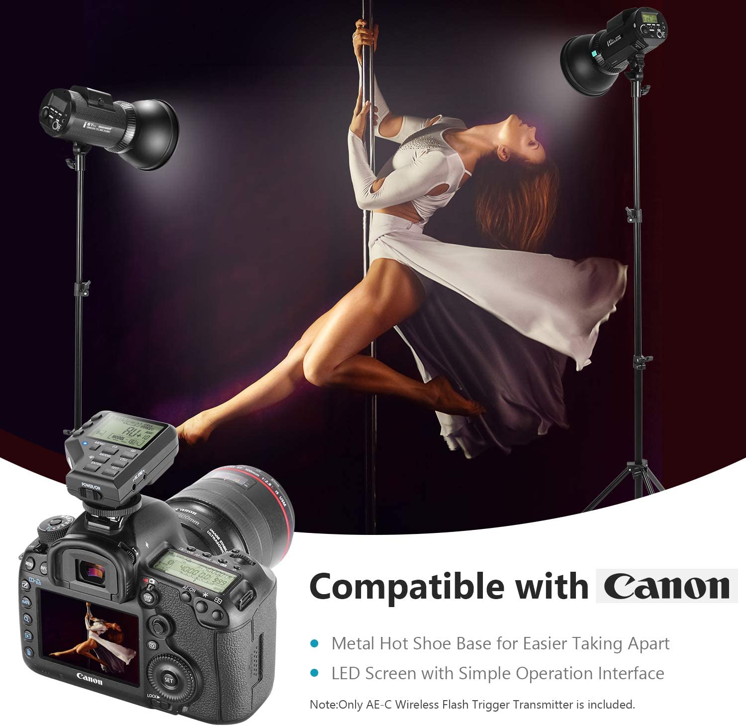 Neewer AE-C 2.4G Wireless Flash Trigger Transmitter Compatible with Canon EOS DSLR Camera and Neewer i6T EX 600W Outdoor Studio Flash Strobe Monolight