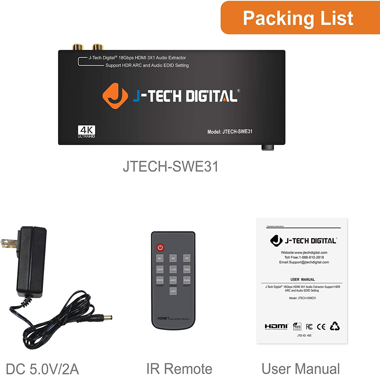 J-Tech Digital 5 Port HDMI Switch /& Audio Extractor SPDIF Jack Stereo Outputs with Ultra HD 4K ARC EDID Setting with Control4 Driver Available 5x1 Ultra HD