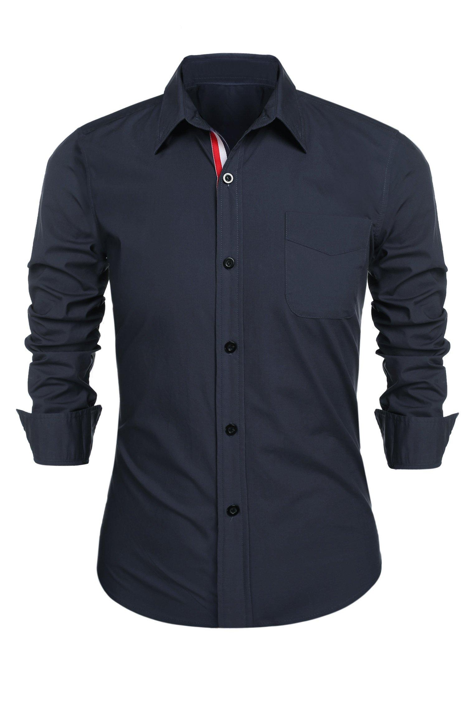 Detailorpin Men's Business Dress Shirt Slim Fit Contrast Button Down Long Sleeve Shirt