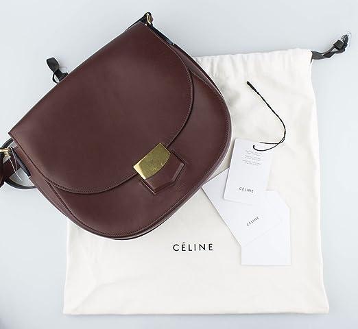 745e963a5f Amazon.com  CELINE Burgundy Smooth Calfskin Leather Trotteur Shoulder  Handbag  Baby