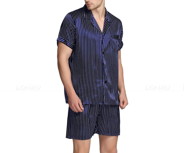 Mens Silk Satin Short Pajamas Pajama Pyjamas Set Sleepwear Set Loungewear,Navy Blue Strip,XL by Toping Fine sleepwear (Image #5)