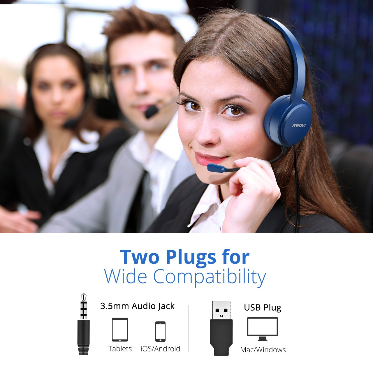 Multi-Use USB Headset /& 3.5mm Chat Headset Office Headset Gaming Headset VOIP Headset Skype Headset In-line Control Mac PC Moblie Phone Built-in Noise Reduction Sound Card Mpow PC Headset Blue