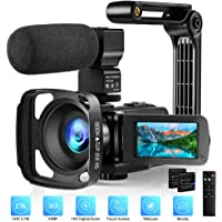 Video Camera with Microphone 2.7K Camcorder HD 36MP/30FPS YouTube Vlogging Camera IR Night Vision 16X Digital Zoom…