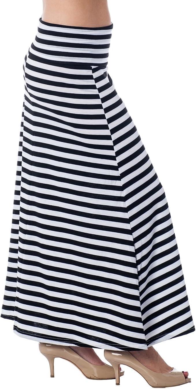 Alkii High Waisted Floor Length Striped Maxi Skirt