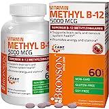 Bronson Methyl B12 5000 mcg Vitamin B12 Methylcobalamin Energy & Brain Support 60 Lozenges