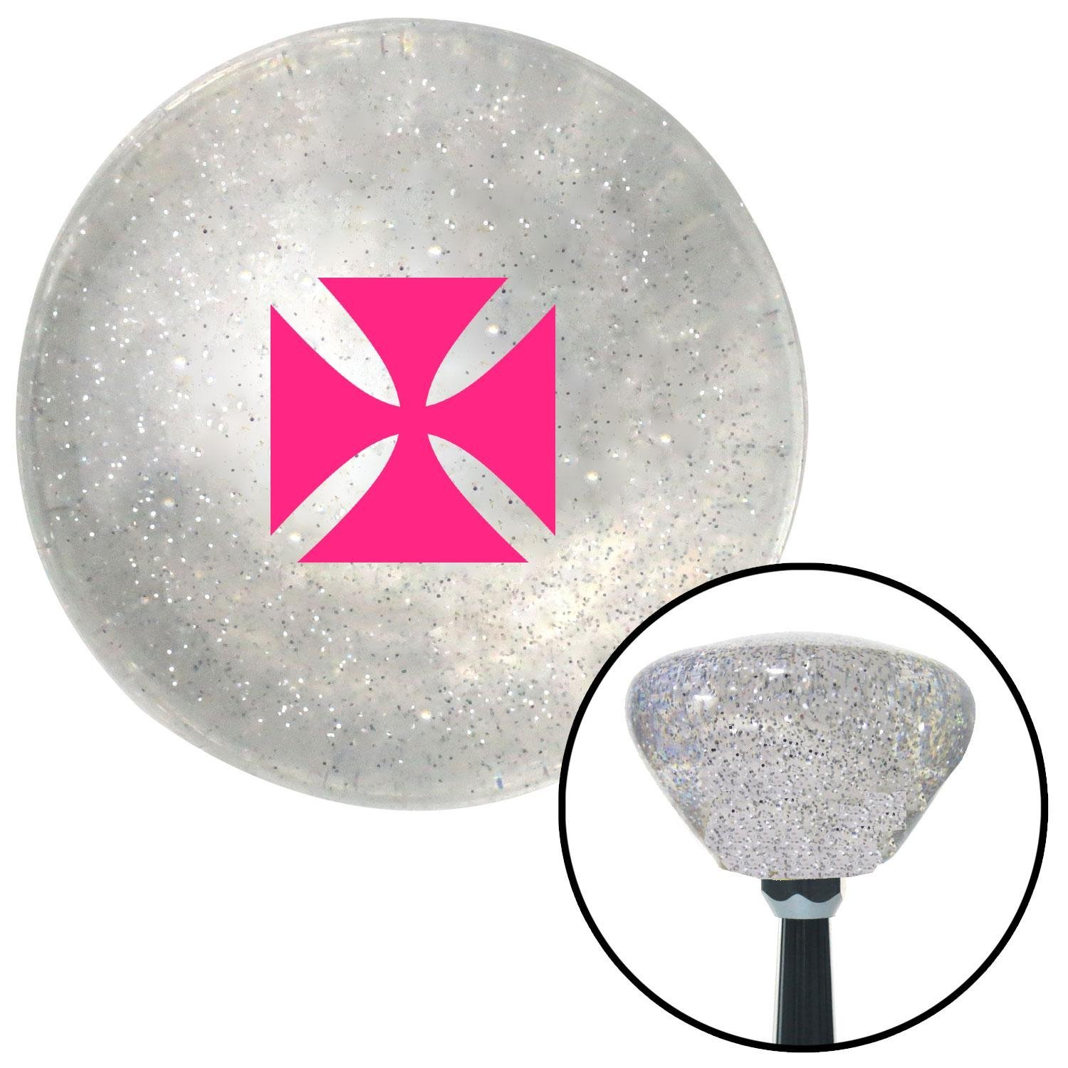Pink Cross Maltese Clear Retro Metal Flake with M16 x 1.5 Insert American Shifter 285736 Shift Knob