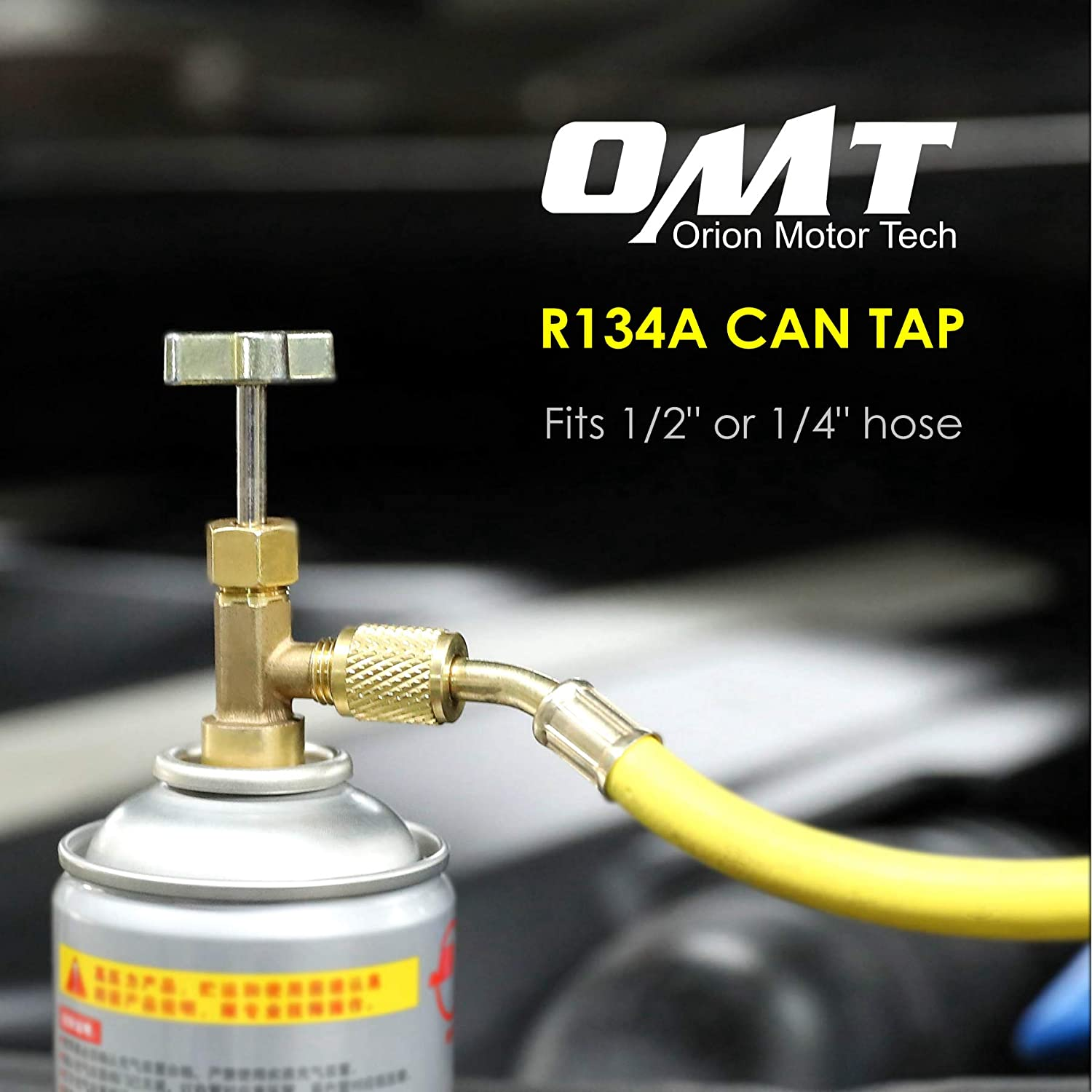 OrionMotorTech R134A Can Tap Refrigerant Dispenser with Tank Adapter for 1//4 and 1//2 AC Charging Hose