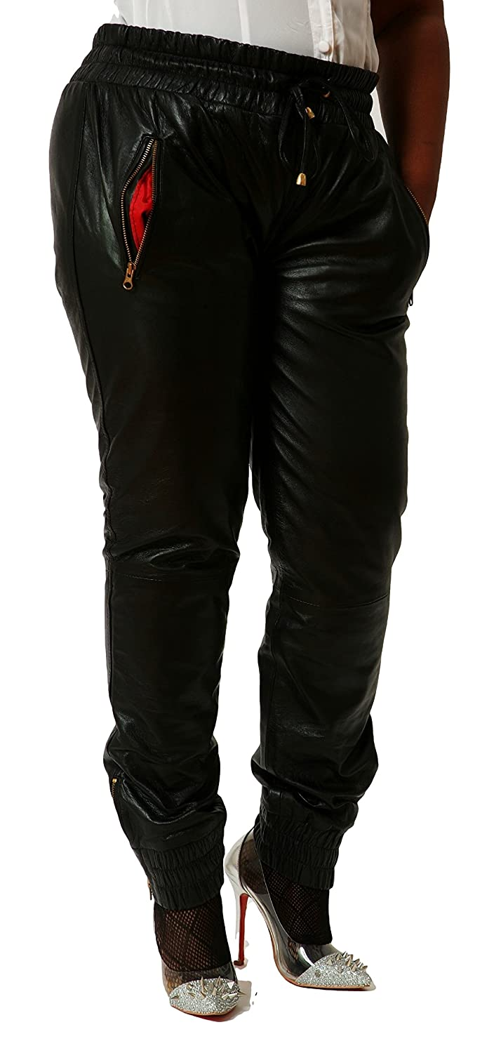 CD D C Womens Leather Sweat Pants//Joggers Relaxed