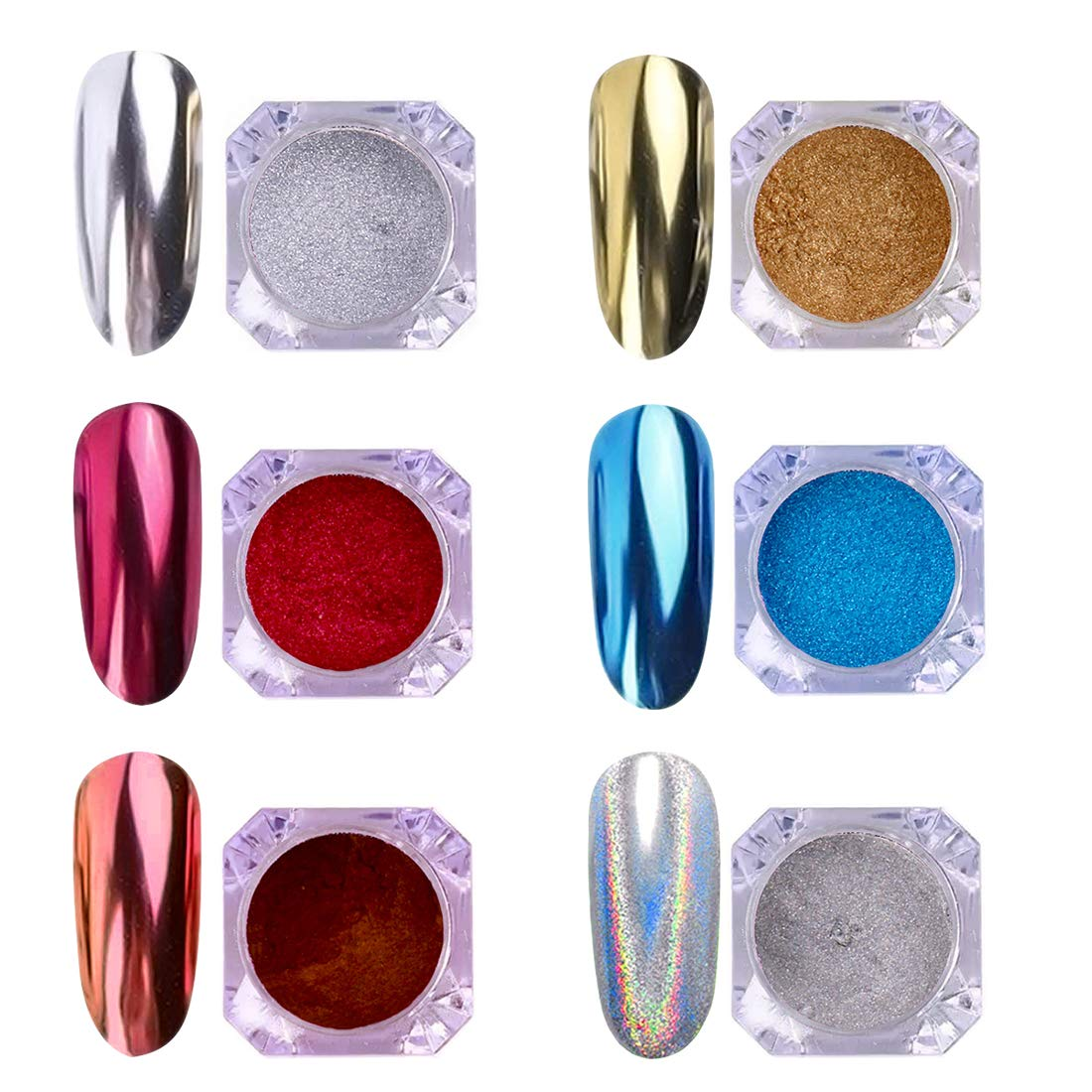 AIMEILI 6 Boxes Nail Art Manicure Powder Set, 1×0.5g Holographic Powder, 1×0.5g Chameleon Chrome Nail Powder, 4×0.5g Mirror Effect Nail Powder by AIMEILI
