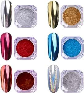 AIMEILI 6 Boxes Nail Art Mirror Powder Set Rainbow Unicorn Chrome Nail Art Pigment Glitter Dust Shinning Hologram Laser Powder Chameleon Mermaid Nail Power Manicure Kit