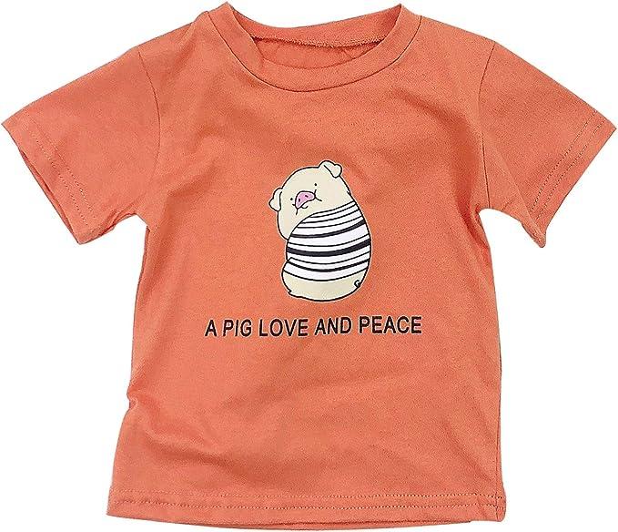LENGIMA Camiseta de algodón con Estampado de Cerdo de Dibujos ...