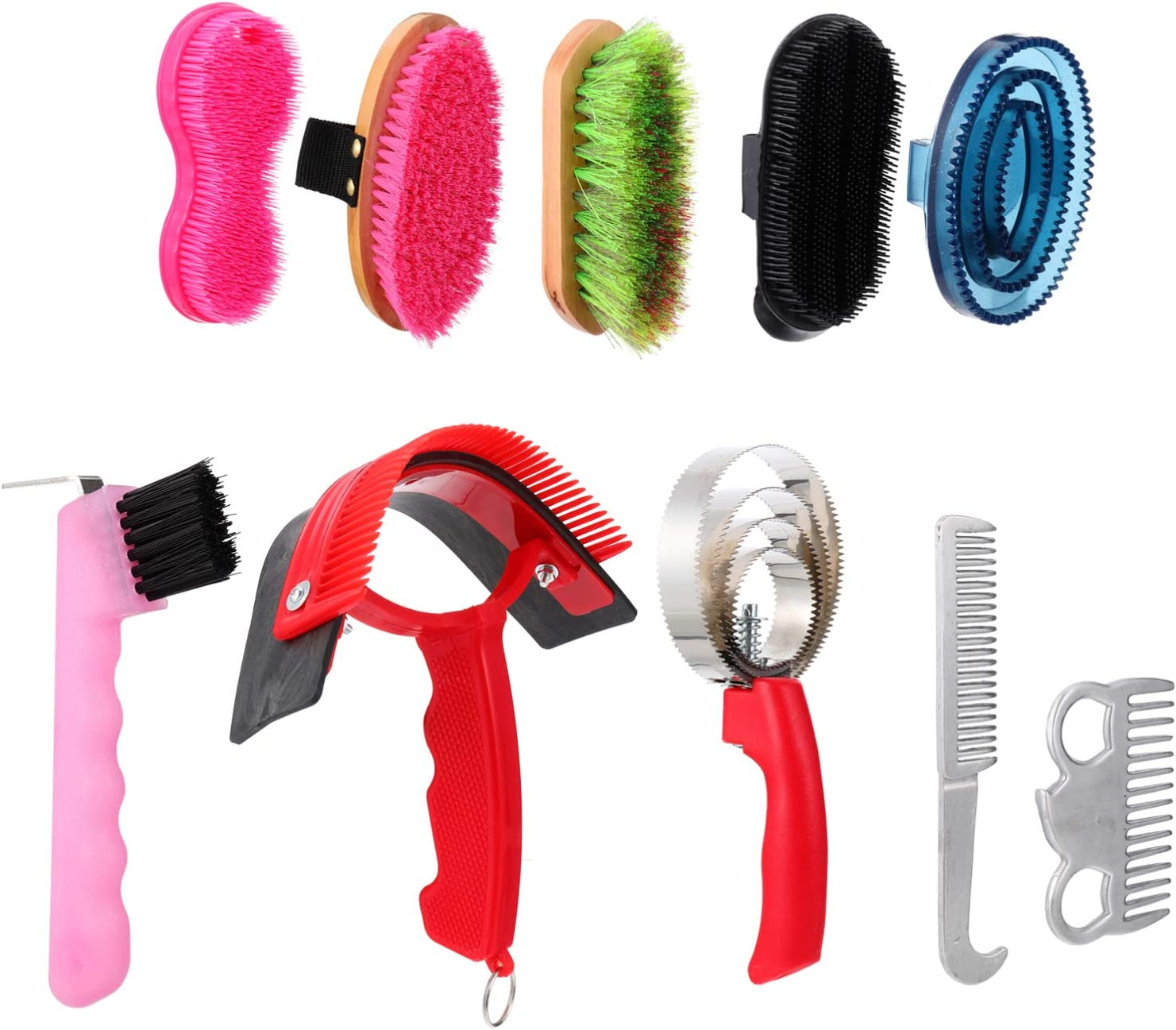 Balacoo 10Pcs Kit de Aseo de Caballos Juego de Cepillos de Limpieza de Caballos Profesionales Accesorios de Cuidado de Aseo de Caballos (Color Aleatorio)