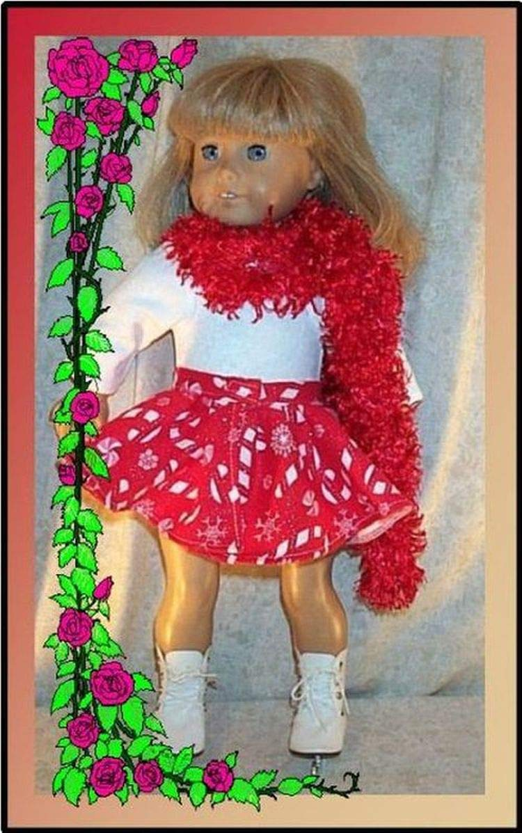 Doll Clothes fit American Girl 18 inch Ice Skate Dance 3p Candy Cane Red White