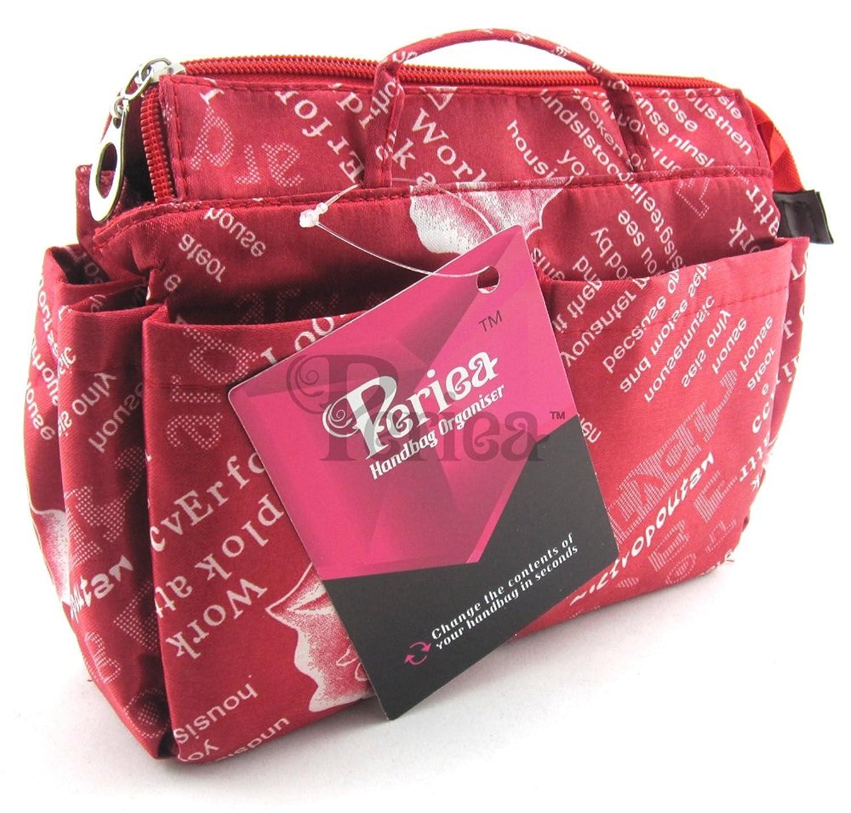 Periea Handbag Organiser Medium 13 Compartments + FREE KEY CLIP Red - Marina
