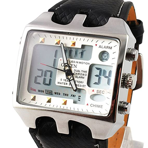 Amazon.com: ShoppeWatch Mens Referee Sports Watch Big Square Face LED Dual Time Analog Digital Light Up Dial Stopwatch Leather Band Relojes Deportivos de ...