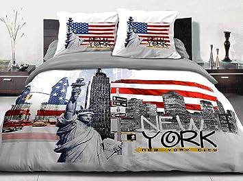 Couette Imprimée 220x240 100 Coton 600 Grs New York Blanc Amazon