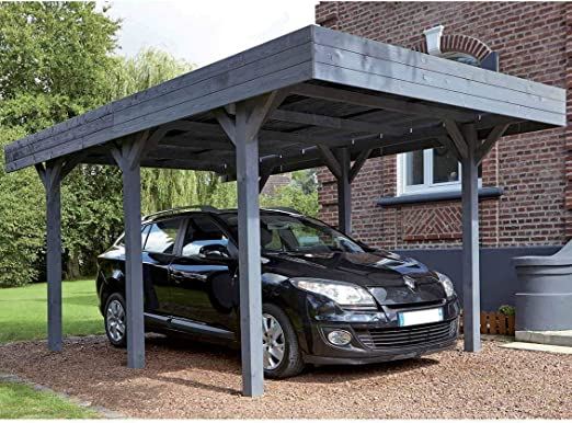 Madeira Louison – Marquesina de aparcamiento para 1 coche, madera barnizada, color gris: Amazon.es: Jardín