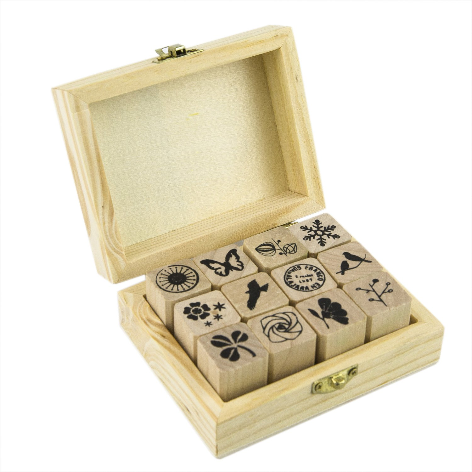 70 pcs Alphabet Number Wood Rubber Stamp, Capital Lower Case Letter Stamp with Vintage Box LoveBoutique