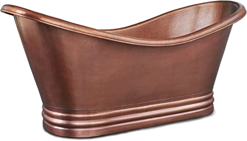 Sinkology TBT-7132HA Euclid Handmade Pure Solid Freestanding Double Slipper Bath Tub