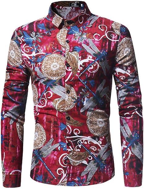 YFSLC-Studio Camisa De Manga Larga Hombre,Moda Casual Flor Roja Hombres Camiseta Slim Fit Camiseta De Manga Larga Masculina Sólido Estilo Británico Algodón Camiseta Personalizada: Amazon.es: Deportes y aire libre