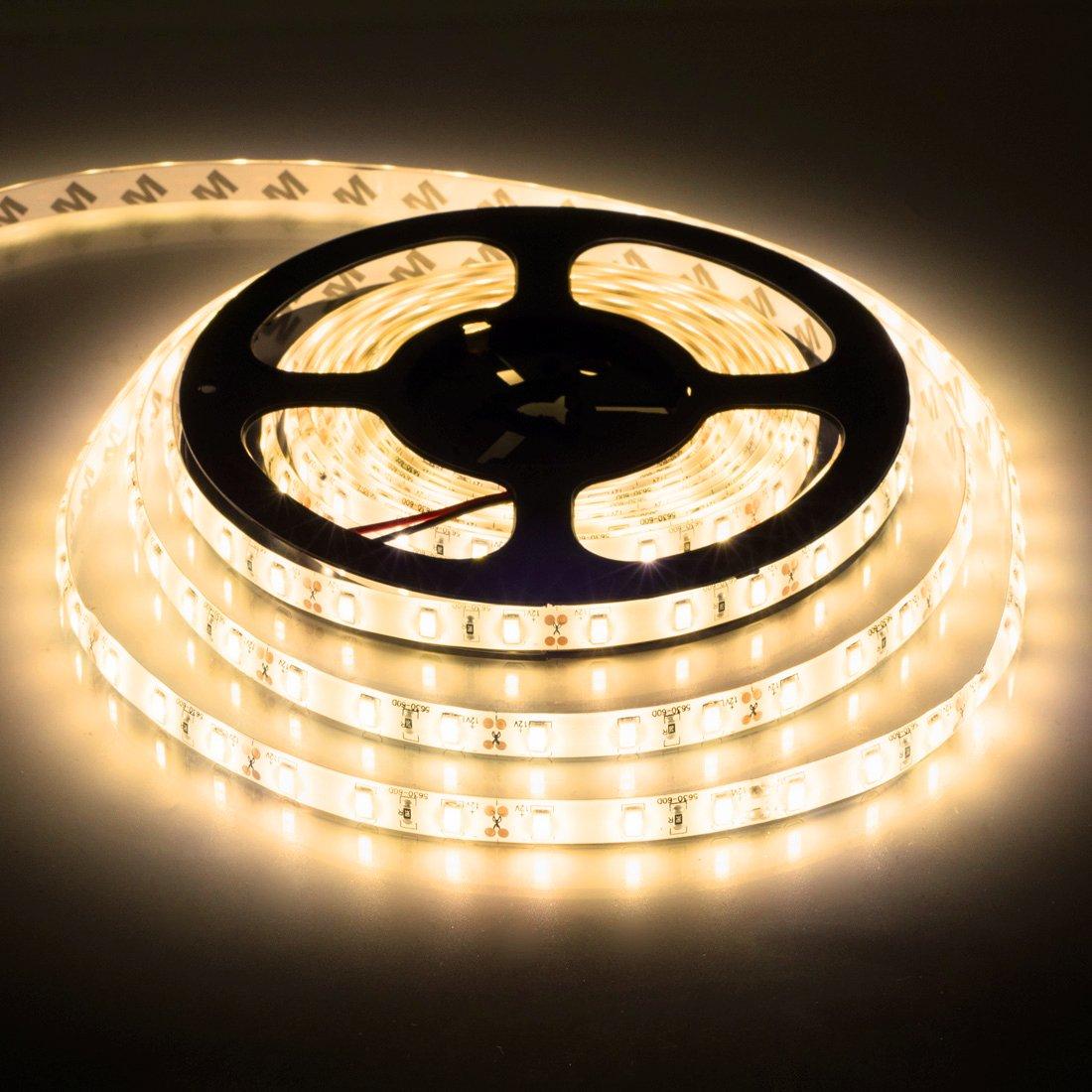 BTF-LIGHTING 16.4ft Warm White SMD5630 Led Strip Light 300LEDs DC12V Waterproof IP65 25Lm/LED, 2 times brightness than SMD5050 LED Ribbon Light, 5631 LED Tape