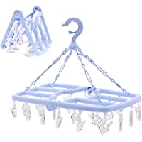 Keador Laundry Hanger Drying Rack, Foldable Clip and Drip Hanger with 24 Pins and Wind-Proof Hook for Drying Towels…