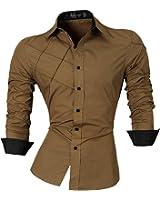 jeansian Homme Chemises Casual Shirt Tops Mode Men Slim Fit 2028