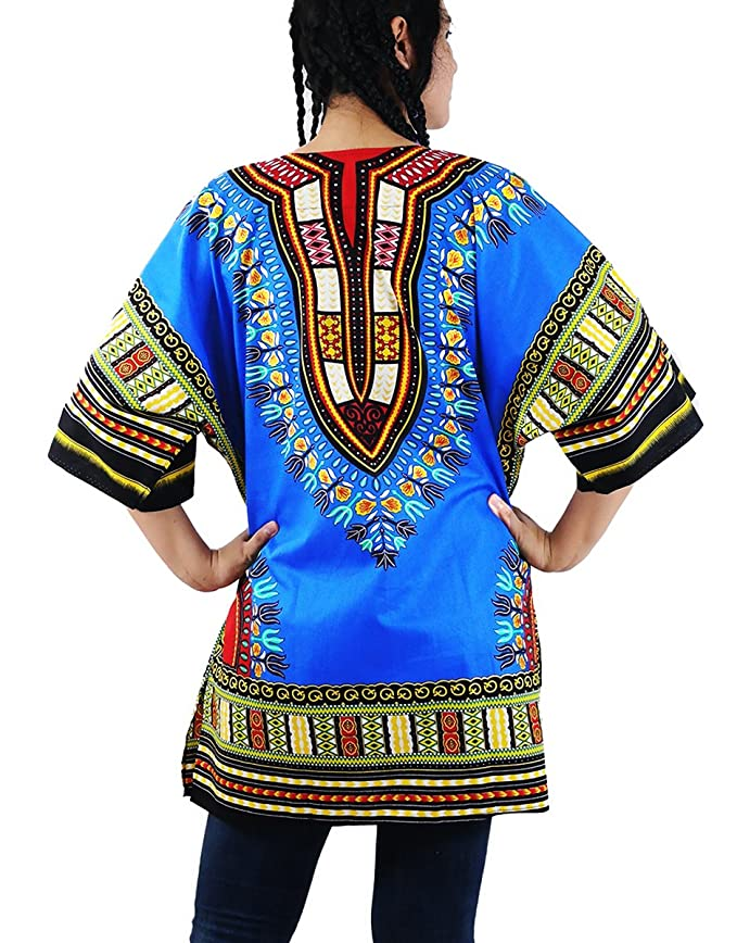 Amazon.com: Villas Dashiki Kaftan Top Shirt Colourful Unisex African Style One Size (Green DA-07): Clothing