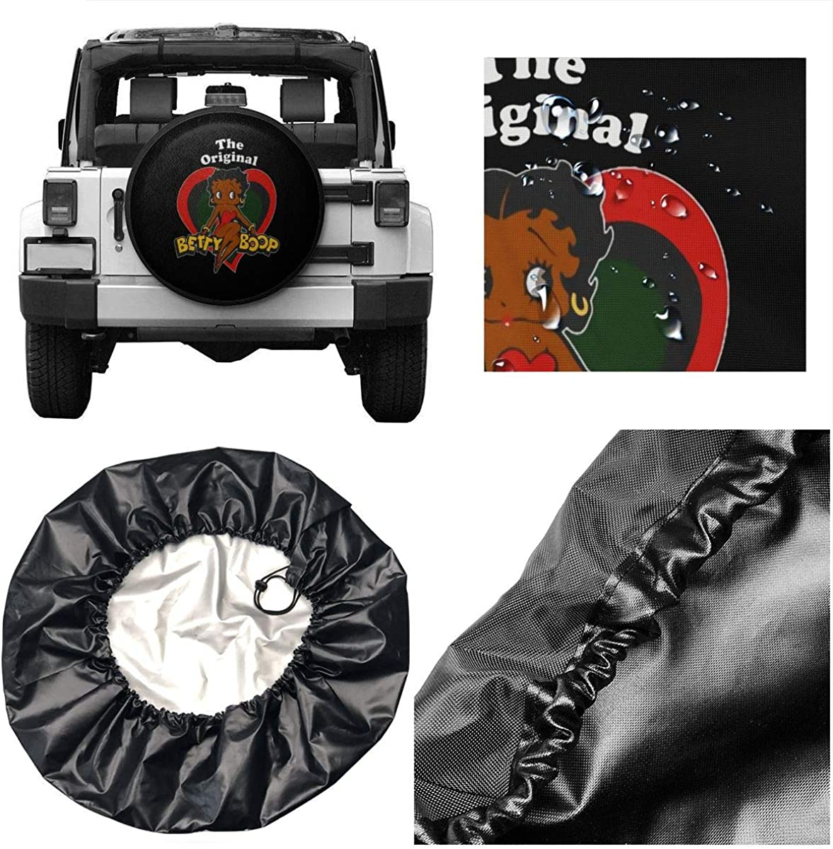 N//C Betty Boop Spare Wheel Tire Cover Waterproof for Trailer Rv SUV Truck Camper Travel Trailer Accessories