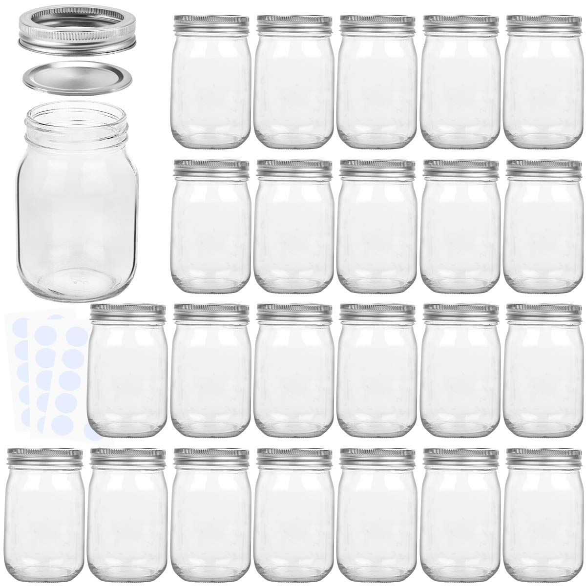 KAMOTA Mason Jars 12OZ With Regular Lids and Bands, Ideal for Jam, Honey, Wedding Favors, Shower Favors, Baby Foods, DIY Magnetic Spice Jars, 24 PACK, 30 Whiteboard Labels Included