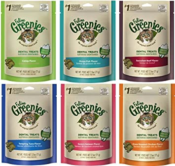 Greenies Feline Grenies Dental Cat Treat Variety Bundle. Five Flavors, 2.5oz Each Bag