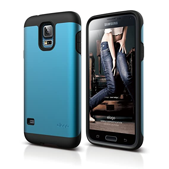 reputable site 2eb44 7f07e elago Duro [Heavy Dual Layer Protection] Case for Samsung Galaxy S5 - eco  friendly Retail Packaging (Black / Electric Blue)
