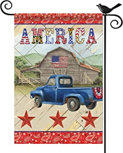 Kuchluse Decorative Old Truck Garden Flags America Quotes Patriotic Yard Flags, Vertical Double Sided Burlap Garden Banners Seasonal Outdoor Decorations for Patio Lawn and Backyard, 12.5 x 18 Inch
