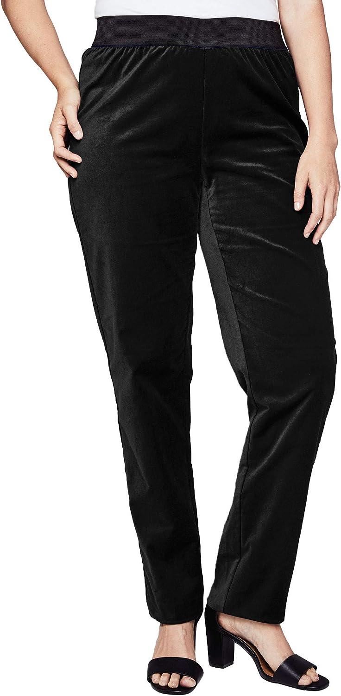 Vintage Nightgowns, Pajamas, Baby Dolls, Robes Jessica London Womens Plus Size Velvet Straight Leg Pant $22.49 AT vintagedancer.com