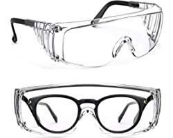 PAERDE Safety Glasses Protective Eyewear Fit Over Eyeglasses Unisex,Clear Lenses Anti-Fog Coating Goggles for Work