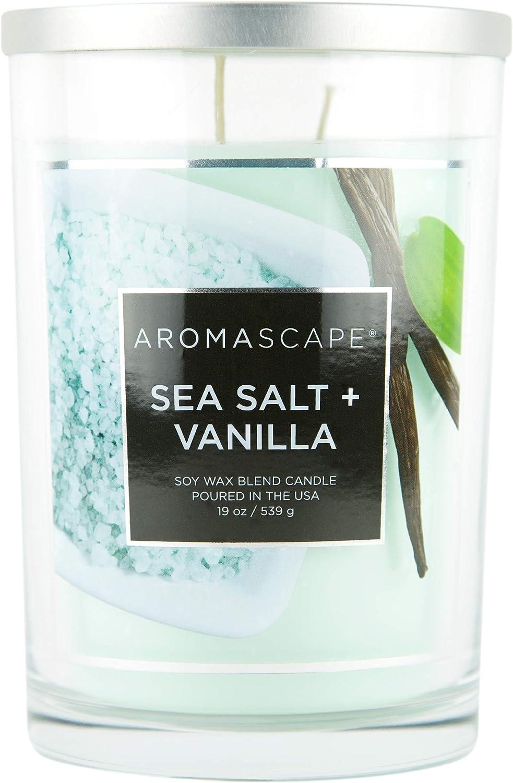 Aromascape PT41919 2-Wick Scented Jar Candle, Sea Salt & Vanilla, 19-Ounce, Blue