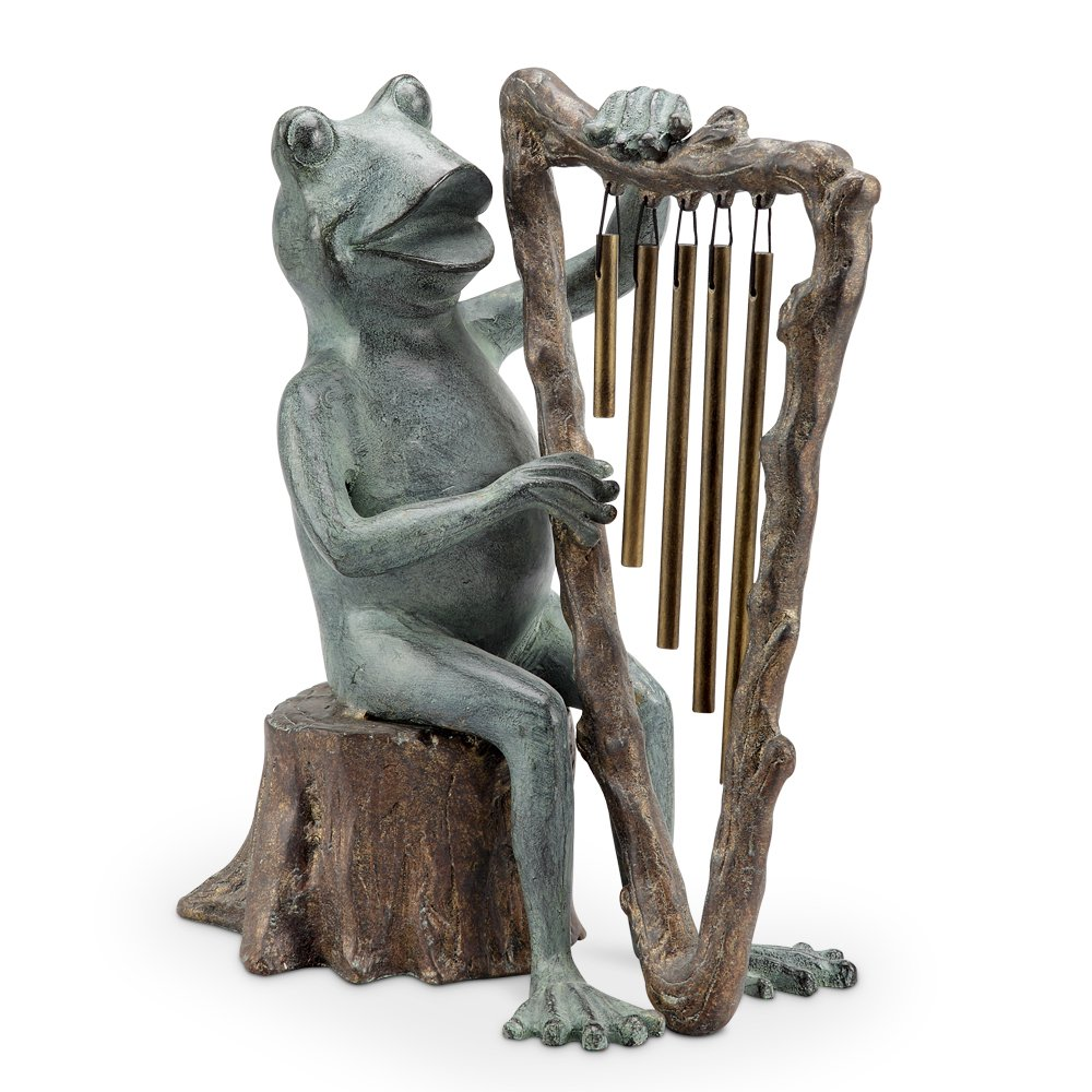 Spi Aluminum Wind Chimes 34538 Spi Aluminum Frog And Harp Tube Windchime / Statue 11.5 X 14 X 7 Inches Multicolored by SPI Home