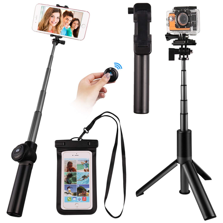 Wireless Bluetooth Selfie Stick Tripod, Satkago Extendable Selfie Stick Tripod with Bluetooth Wireless Remote and Waterproof Case for iPhone X/8/8P/7/7P/6S/6P/5S/SE Galaxy S9/S9 Plus/S8/S8 Plus/S7/Note 8/S6/S5 Gopro eFun Y433050016-3