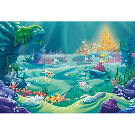 Amazon VV Backdrop 7x5ft Under The Sea Little Mermaid Photography Backdrops Blue Ocean Cartoon Birthday Party Banner Photo Studio Background Newborn