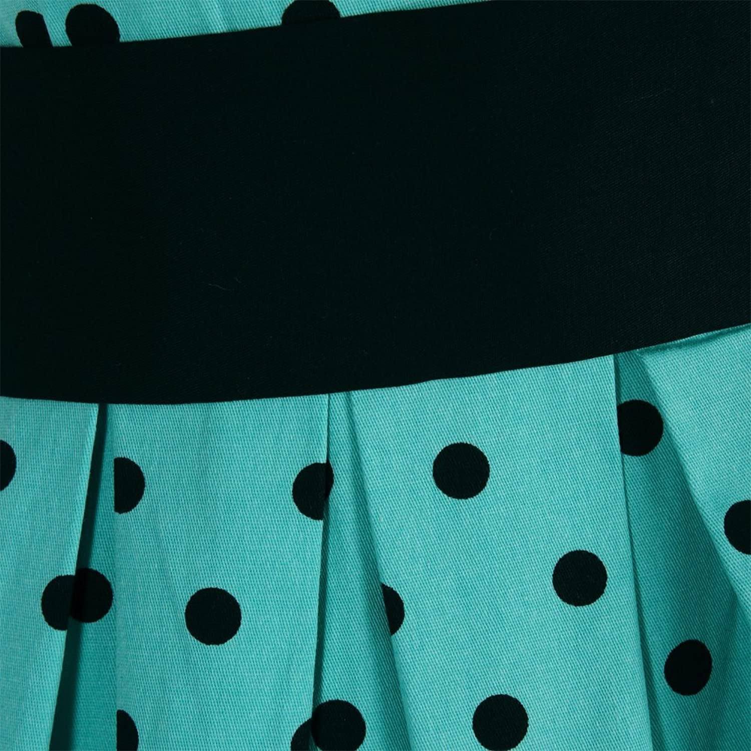 Lindy Bop 'Lana' Turquoise Black Polka Party Dress