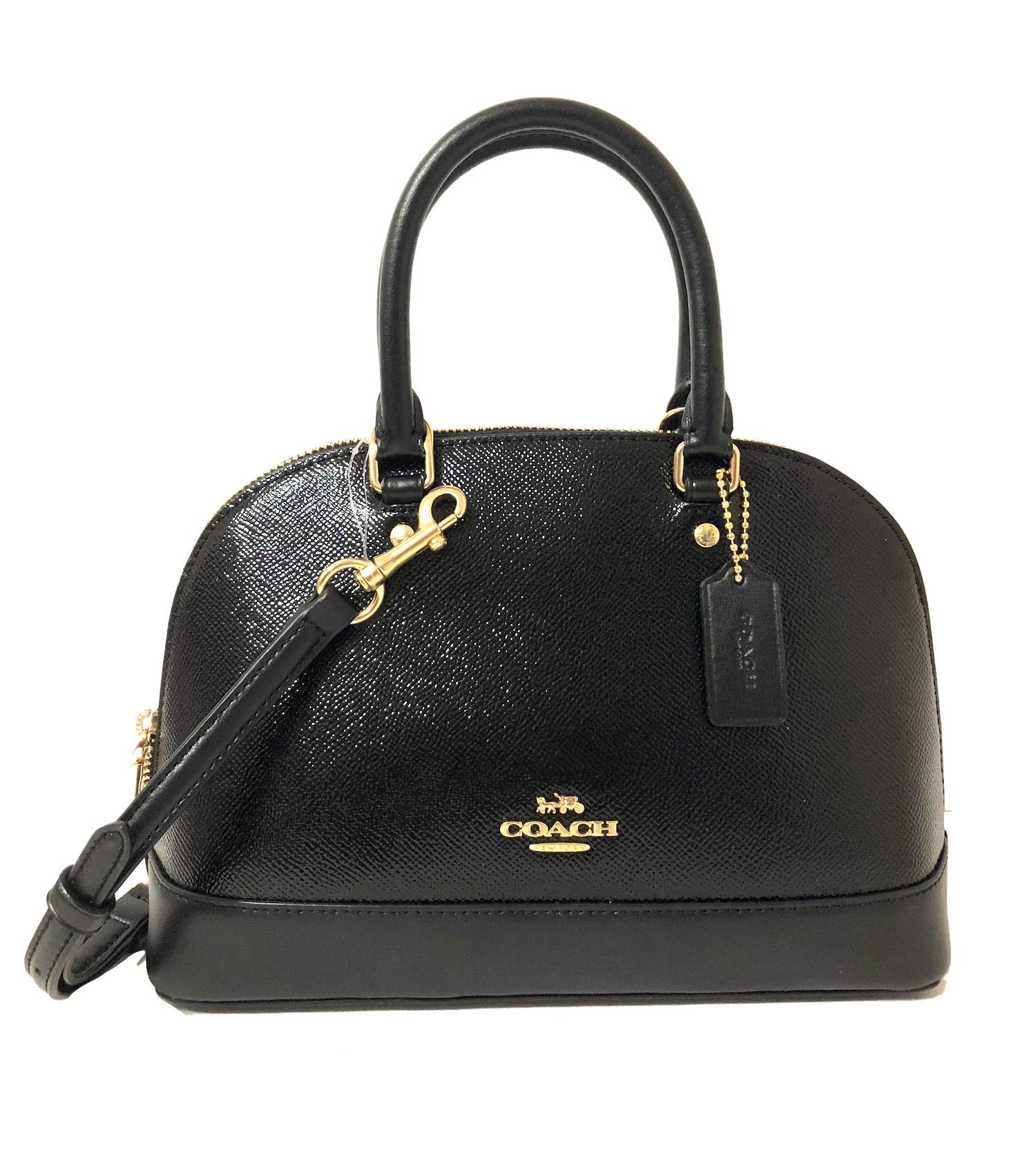Coach Mini Sierra Satchel in Patent Crossgrain Leather IM/BLK Black
