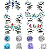 6 Sets Rhinestone Rave Mermaid Face Gems Festival Jewels Tattoo Crystals Face Tears Bindi Temporary Stickers + 4PCS Body Glitter, for Music Festivals Bohemian Party (6 Sets(1) + 4 Pcs)